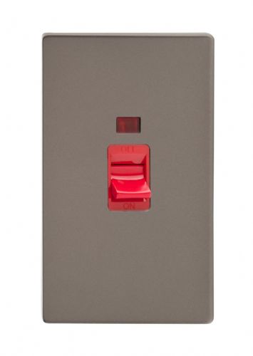Varilight XDR45NS Screwless Pewter 45A DP Cooker Switch Vertical Twin Plate + Neon